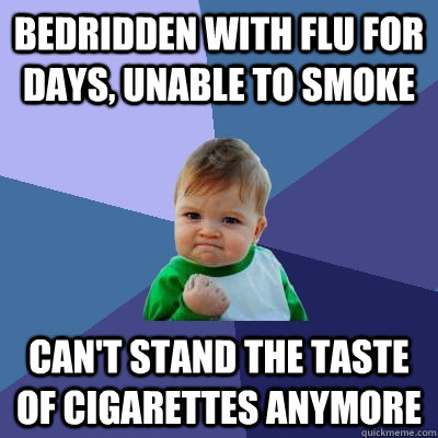 bedridden with flu for days unable to smoke cant stand the - Success Kid
