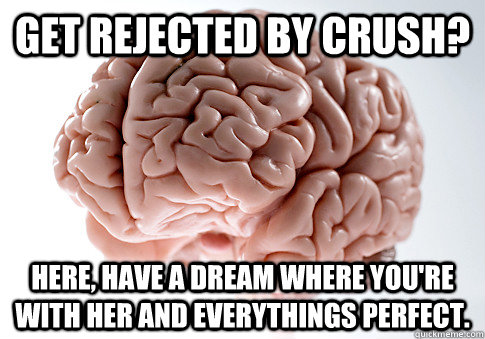 get rejected by crush here have a dream where youre with  - Scumbag Brain