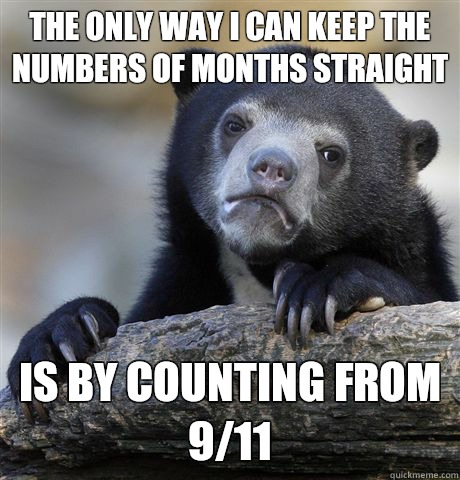 The only way I can keep the numbers of months straight I aut - Confession Bear