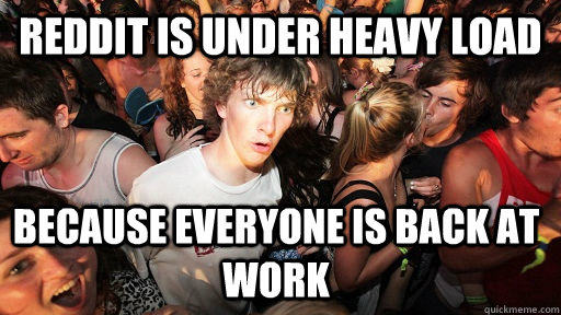reddit is under heavy load because everyone is back at work - Sudden Clarity Clarence