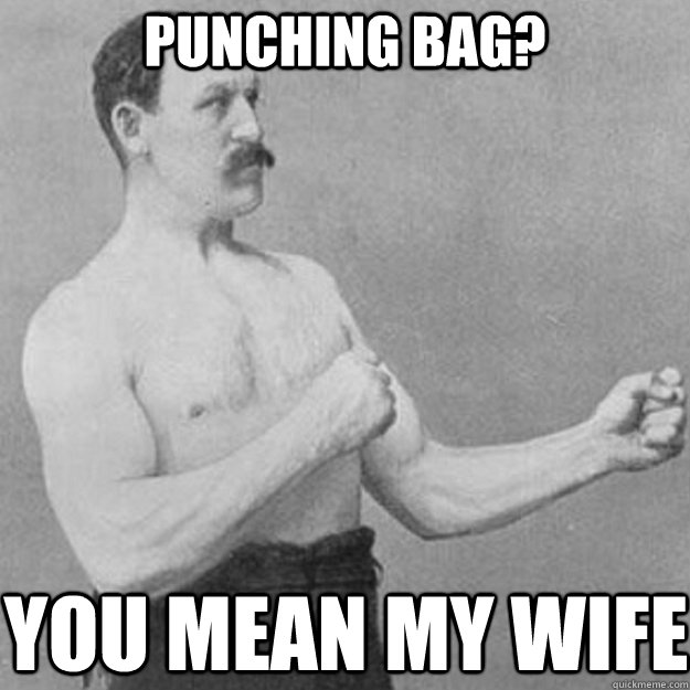 punching bag you mean my wife - overly manly man