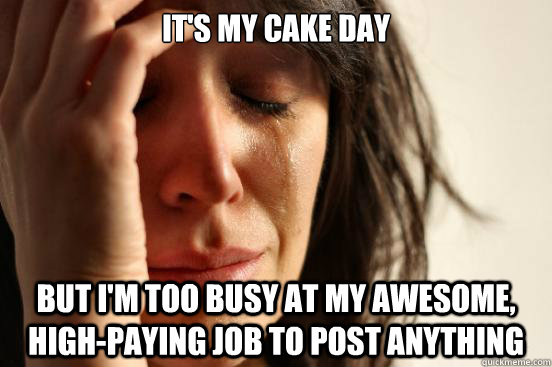 its my cake day but im too busy at my awesome highpaying - First World Problems
