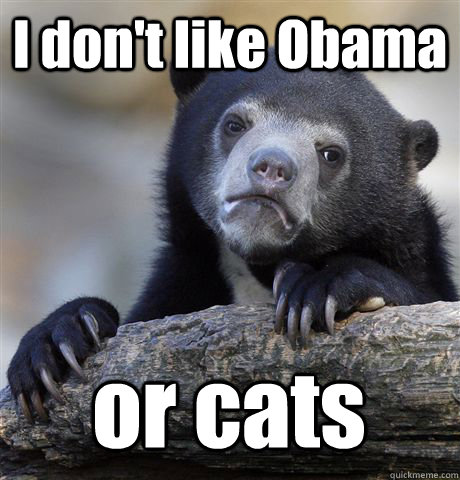 i dont like obama or cats - Confession Bear