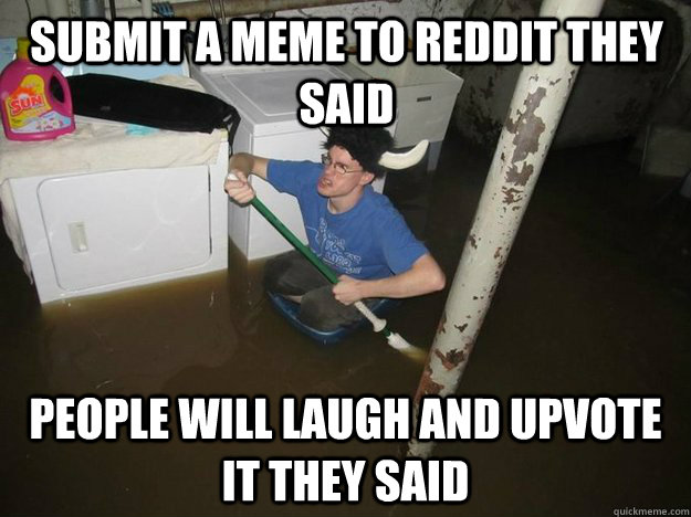 submit a meme to reddit they said people will laugh and upvo - Do the laundry they said