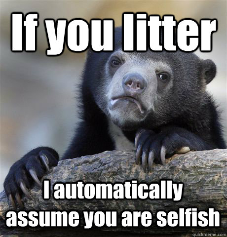 if you litter i automatically assume you are selfish - Confession Bear