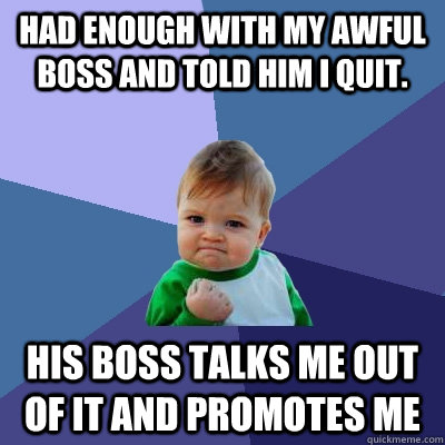had enough with my awful boss and told him i quit his boss  - Success Kid