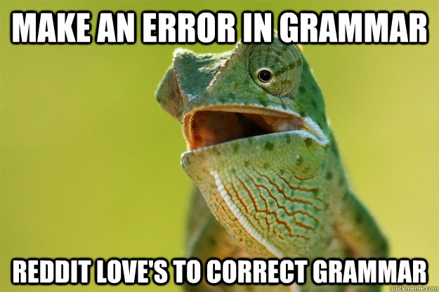 make an error in grammar reddit loves to correct grammar - Karma Karma Karma Karma Karma Cameleon