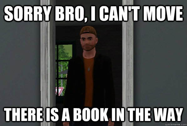 sorry bro i cant move there is a book in the way - Scumbag Sim