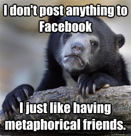 i dont post anything to facebook i just like having metapho - Confession Bear