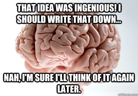 that idea was ingenious i should write that down nah i - Scumbag Brain