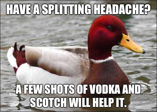 Have a splitting headache A few shots of vodka and scotch wi - Malicious Advice Mallard