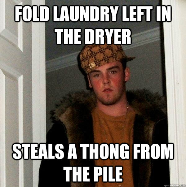 fold laundry left in the dryer steals a thong from the pile - Scumbag Steve