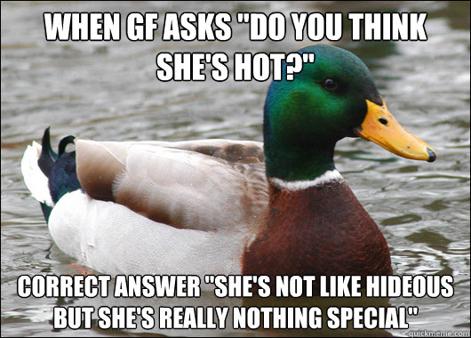 when gf asks do you think shes hot correct answer shes - Actual Advice Mallard