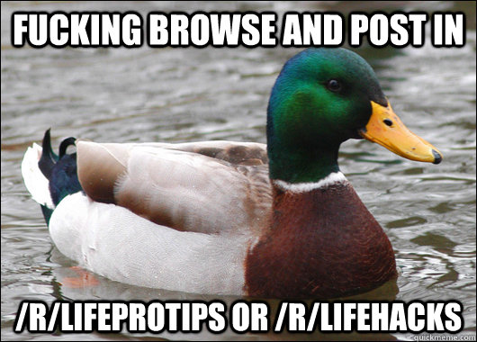 fucking browse and post in rlifeprotips or rlifehacks - Actual Advice Mallard