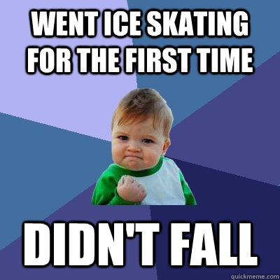 went ice skating for the first time didnt fall - Success Kid