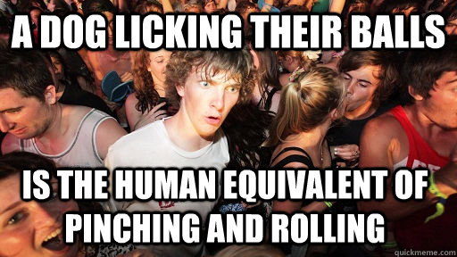 a dog licking their balls is the human equivalent of pinchi - Sudden Clarity Clarence