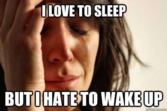 i love to sleep but i hate to wake up - First World Problems