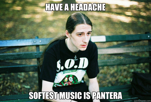 have a headache softest music is pantera - First World Metal Problems