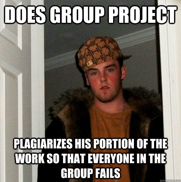 does group project plagiarizes his portion of the work so th - Scumbag Steve