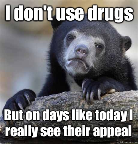 I dont use drugs But on days like today I really see their a - Confession Bear