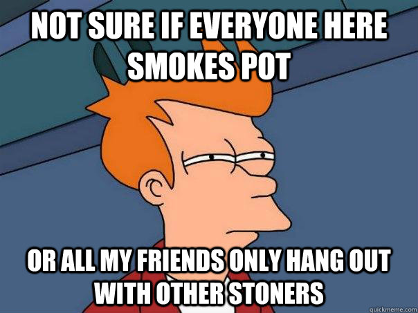 not sure if everyone here smokes pot or all my friends only  - Futurama Fry