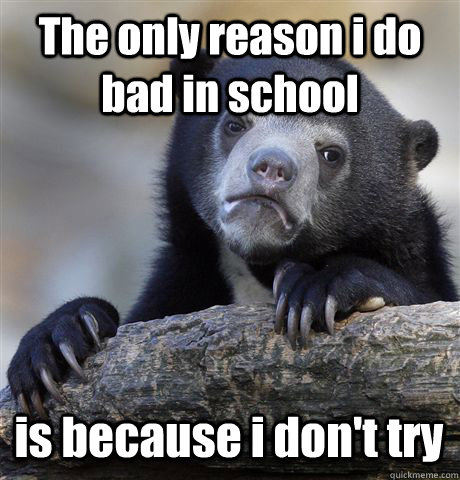 the only reason i do bad in school is because i dont try - Confession Bear