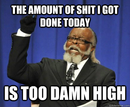 the amount of shit i got done today is too damn high - Too Damn High