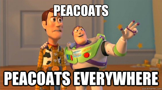 peacoats peacoats everywhere - woody and buzz downvoters