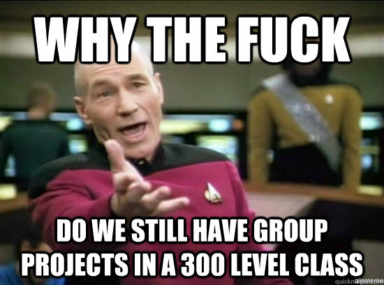 why the fuck do we still have group projects in a 300 level  - Annoyed Picard HD