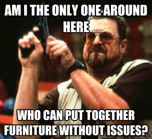 am i the only one around here who can put together furniture - Angry Walter
