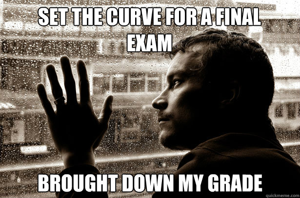 set the curve for a final exam brought down my grade - Over-Educated Problems
