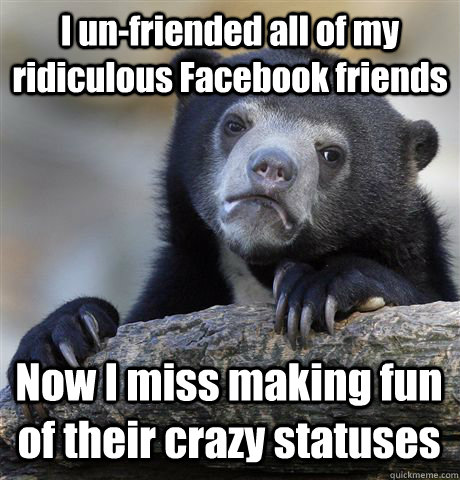 i unfriended all of my ridiculous facebook friends now i mi - Confession Bear