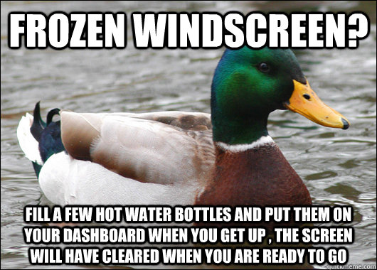 frozen windscreen fill a few hot water bottles and put them - Actual Advice Mallard