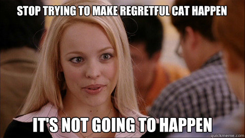 stop trying to make regretful cat happen its not going to h - regina george