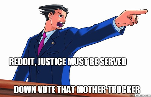 Reddit Justice must be served Down vote that mother Trucker - OBJECTION!