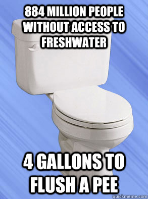 884 million people without access to freshwater 4 gallons t - Scumbag Toliet