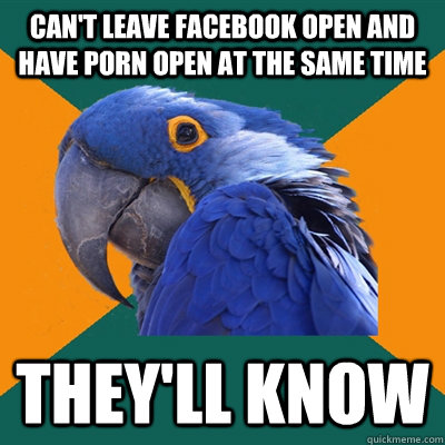 cant leave facebook open and have porn open at the same tim - Paranoid Parrot