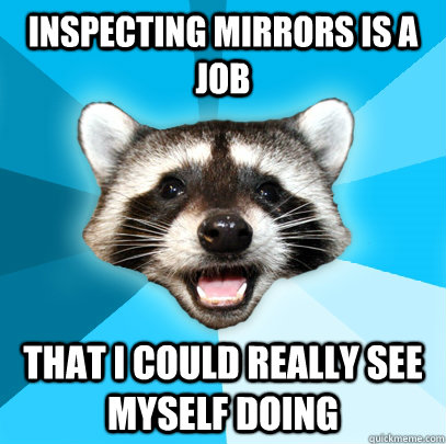 inspecting mirrors is a job that i could really see myself d - Lame Pun Coon