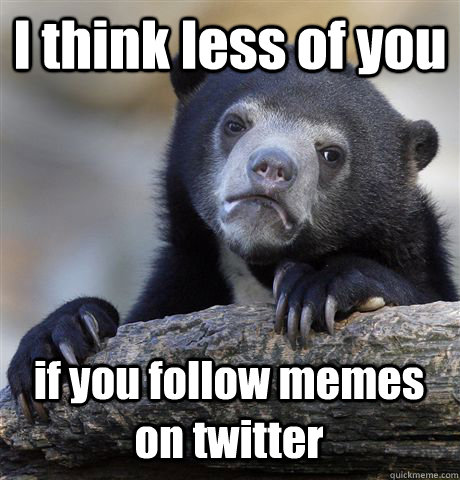 i think less of you if you follow memes on twitter - Confession Bear
