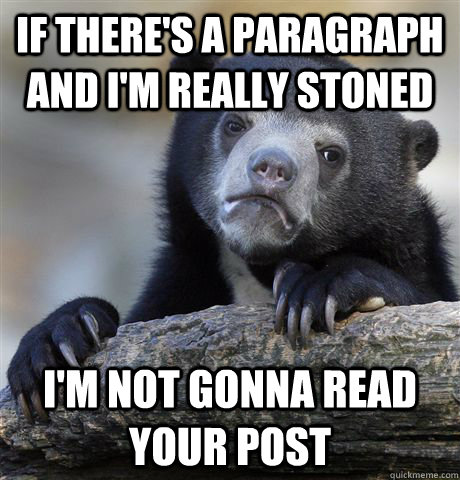 if theres a paragraph and im really stoned im not gonna r - Confession Bear