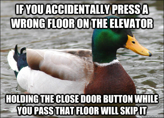 if you accidentally press a wrong floor on the elevator hold - Actual Advice Mallard