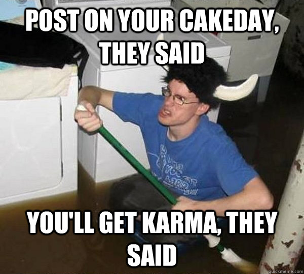post on your cakeday they said youll get karma they said - They said