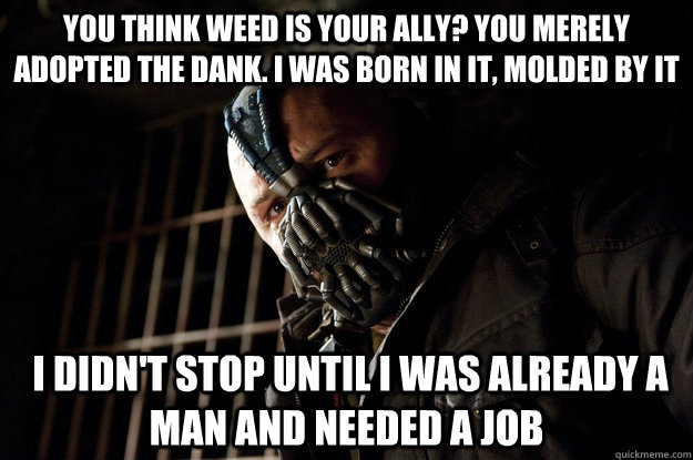 you think weed is your ally you merely adopted the dank i  - Academy Bane