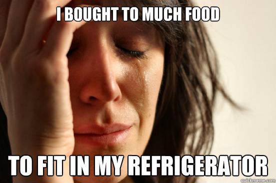 i bought to much food to fit in my refrigerator  - First World Problems