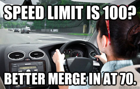 speed limit is 100 better merge in at 70 - Perth Driver