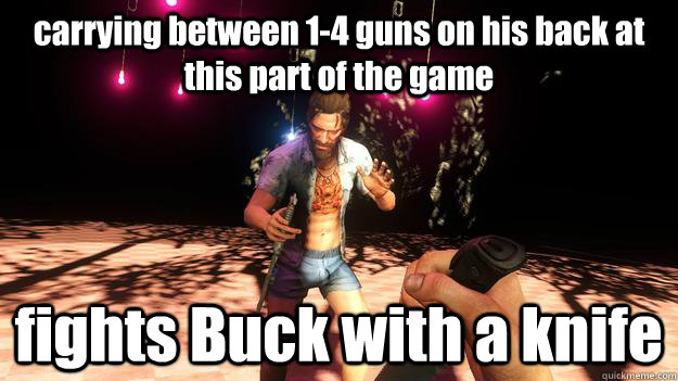 carrying between 14 guns on his back at this part of the ga - Far Cry 3 logic possible spoiler