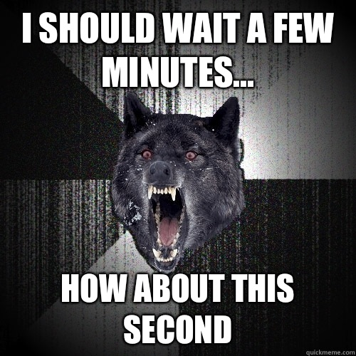 I should wait a few minutes kick wall - Insanity Wolf
