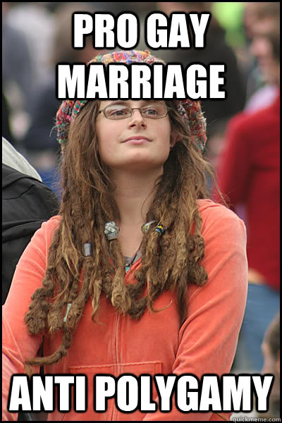 pro gay marriage anti polygamy - College Liberal