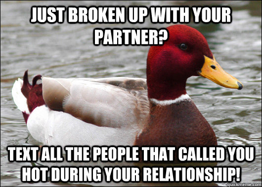 just broken up with your partner text all the people that c - Malicious Advice Mallard