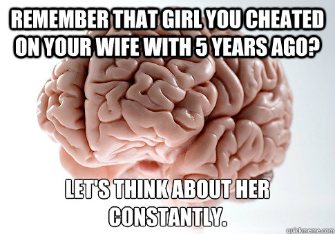 remember that girl you cheated on your wife with 5 years ago - Scumbag Brain